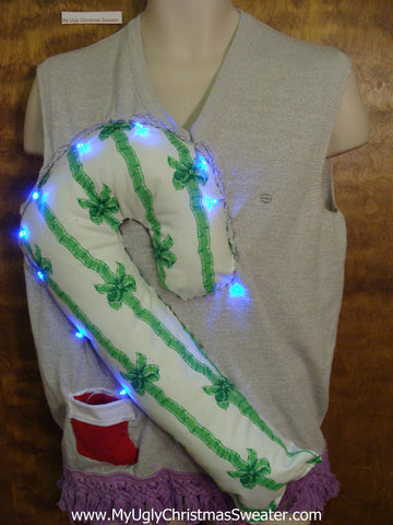 Mens Light Up Funny Christmas Sweater Vest Huge 3D Candy Cane