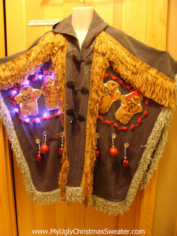 Ugly Christmas Sweater Party Holy Grail of Ugly Sweater Poncho with Lights & Massive Fringe Great Sweater Alternative for Mens XL, XXL or Mens XXXL  (z4)