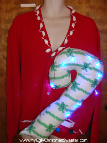 Light Up Funny Christmas Sweater Huge 3D Candy Cane Mens XXXL+