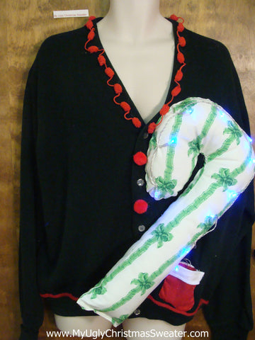 Mens XXL Light Up Funny Christmas Sweater Huge 3D Candy Cane