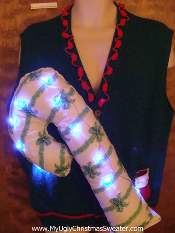 Light Up Funny Christmas Sweater Vest Huge 3D Candy Cane