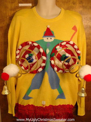 Best Funny Mens Golf Themed Naughty Ugly Christmas Sweater