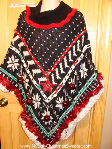 Ugly Christmas Sweater Party Holy Grail of Ugly Sweater Poncho with 3D Ornaments and Garland and Trims. Great Sweater Alternative for Mens XL, XXL or Mens XXXL  (z6)