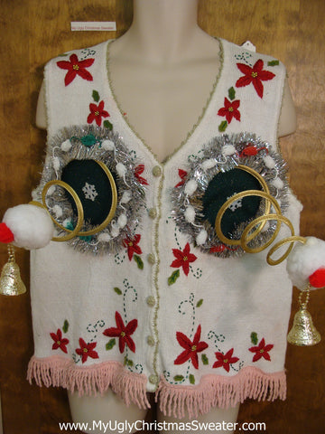 Funny Naughty Ugly Christmas Sweater Vest Springy Boobs