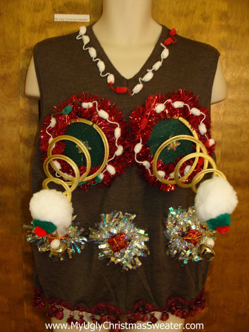 Funny Mens Naughty Ugly Christmas Sweater Vest Springy Boobs