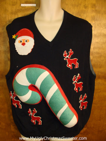 Mens Funny 3D Ugly Xmas Sweater Vest with Massive Candycane