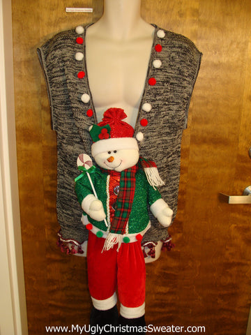 Horrible Snowman Funny 3D Ugly Xmas Sweater Vest
