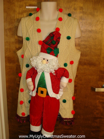 Cheesy Santa Funny 3D Ugly Xmas Sweater Vest