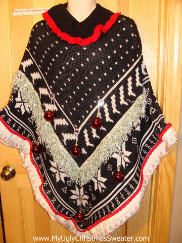 Ugly Christmas Sweater Party Holy Grail of Ugly Sweater Poncho with 3D Ornaments and Garland and Trims. Great Sweater Alternative for Mens XL, XXL or Mens XXXL  (z7)