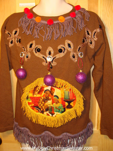 Ugly Christmas Sweater Party Holy Grail of Ugly Sweater Kwanzaa Kwanza with 3D Ornaments, Bling Accents, and Fringe (z9)