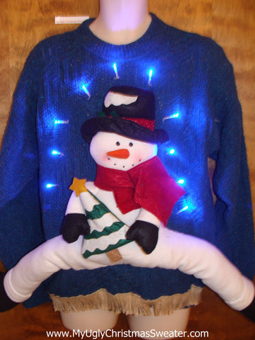 Funny 3D Ugly Christmas Sweater with Lights