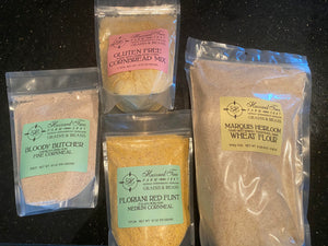 A sampling of the artisan grains we tested at home to find the perfect grains to incorporate in our products!