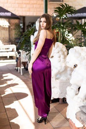 kortni-portia | POISON Plum Satin Formal Dress | Dress.