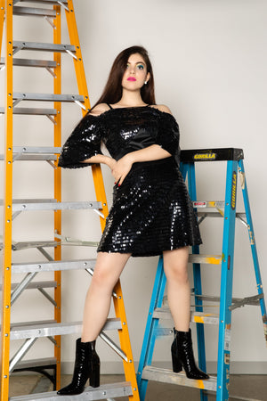 kortni-portia | ROXANNE Black Sequin Party Dress | Dress.