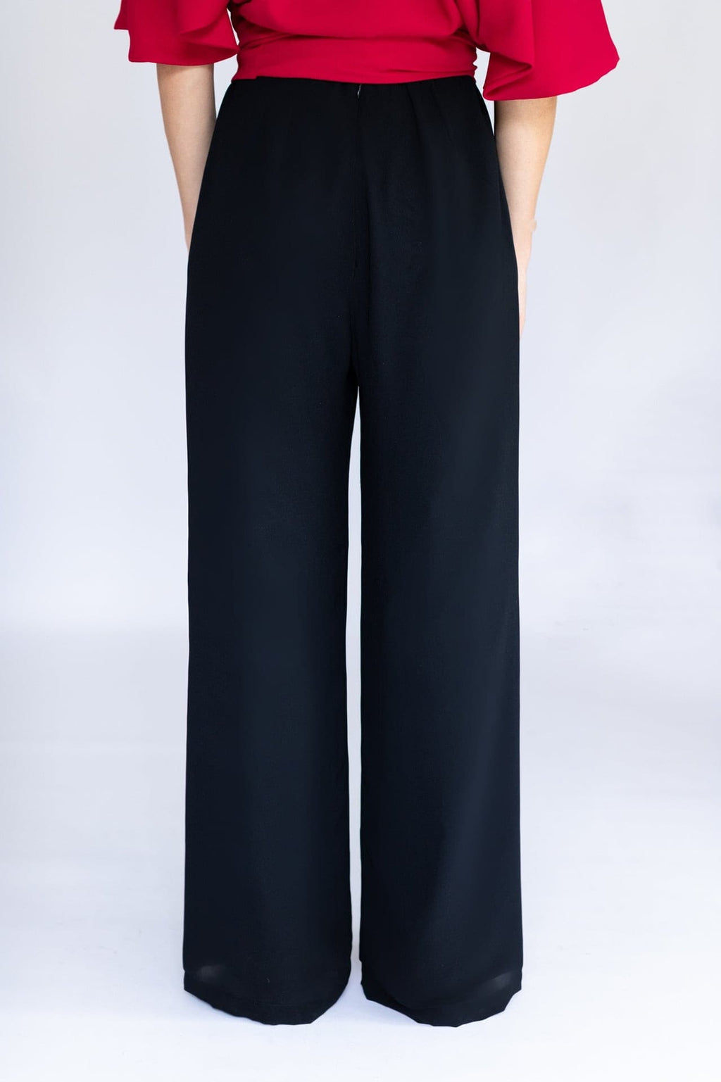 Black Chiffon High waisted Pants Back