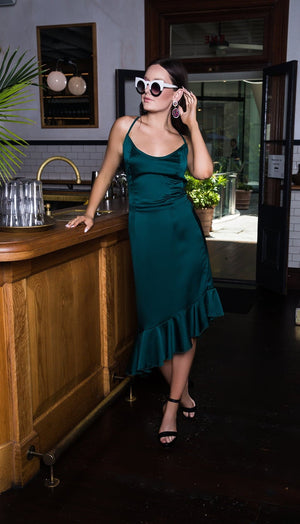 kortni-portia | BEVERLEY Cross Back Dress - Forest Green | Dress.