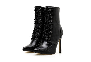 kortni-portia | RIANA Lace Up Snakeskin Boot | Women - Shoes - Party & Evening.