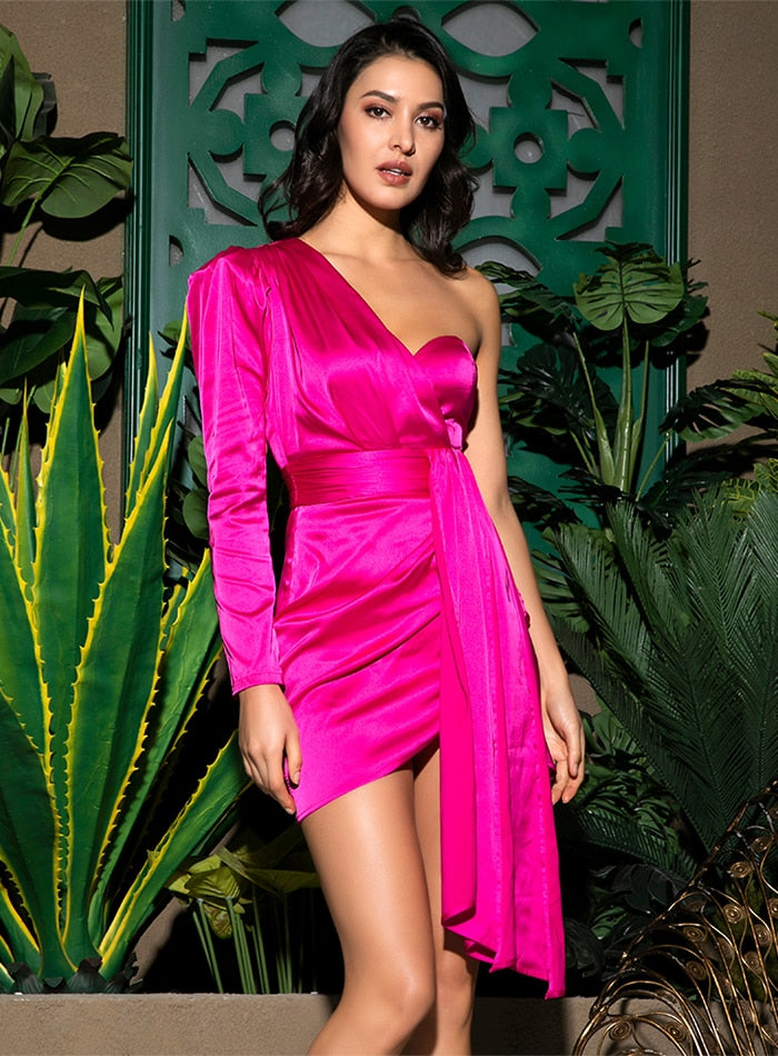 kortni-portia | VALAN One-Shoulder Asymmetric Satin Dress | Dress.