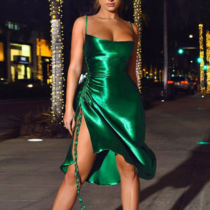 kortni-portia | VALARIE Satin Side Split Dress | Dress.