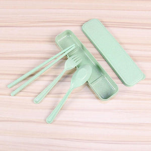 Reusable Straw Wheat 3 Pc Portable Cutlery Set