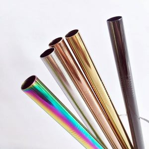 Reusable Stainless Steel Bubble Tea Jumbo Straws (Various Colors)
