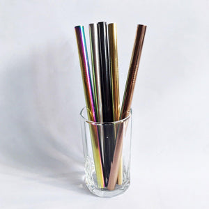 Reusable Stainless Steel Bubble Tea Jumbo Straws (Various Colors) - TroveofGaia