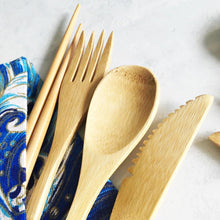 Load image into Gallery viewer, Bamboo Wood 5-piece Cutlery Wrap Set