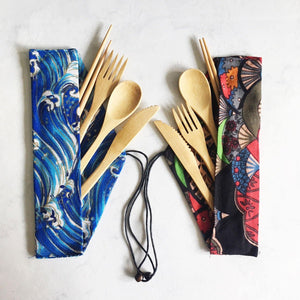 Bamboo Wood 5-piece Cutlery Wrap Set