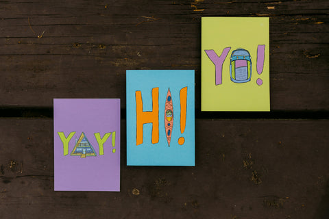 yay, hi, yo greeting cards