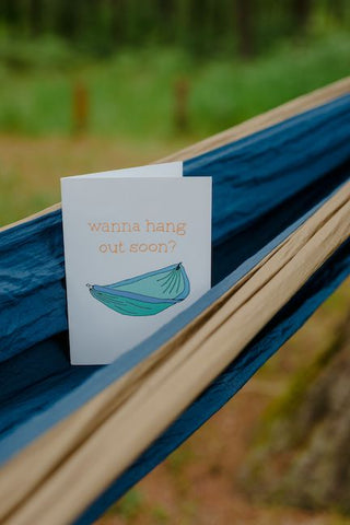 Wanna hang out card in hammock
