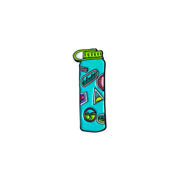 Water enamel pin in the shape of a water bottle