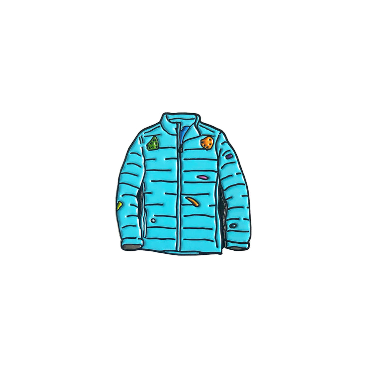Enamel pin in the shape of a puffy jacket