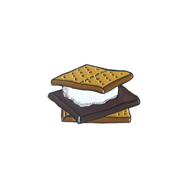 Camping pin in the shape of a s'more
