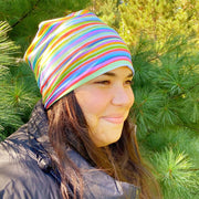 Stripes Shoulder Season Beanie