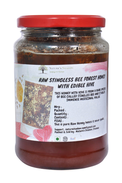 500 Grams - Edible Hive With  Raw Stingless Bee Forest Honey