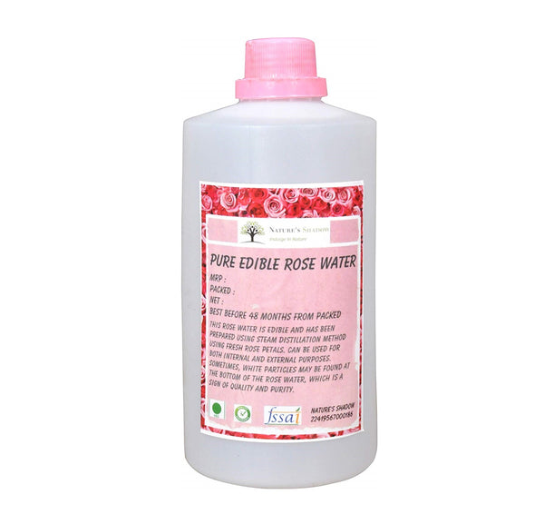 Nature's Shadow - Pure Edible Rose Water for Internal, External and Cooking Purposes (Concentrated, 1000 ML)