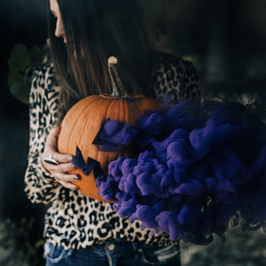 Purple Halloween smoke bomb photography
