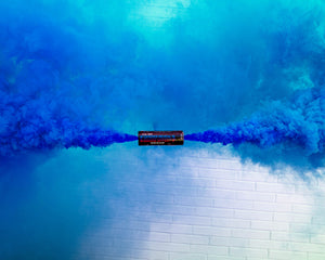 Blue dual vent smoke bombs