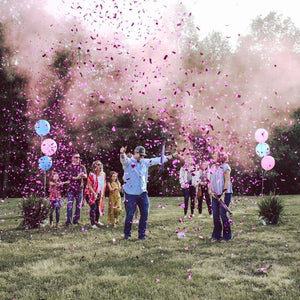 Mixed cannon powder confetti baby gender reveal boy girl