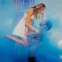 Load image into Gallery viewer, Gender reveal colored smoke baby boy blue