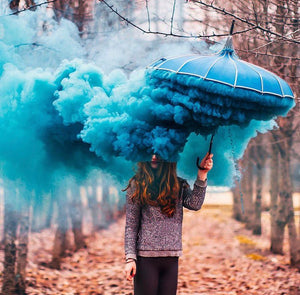 Blue smoke bombs photography