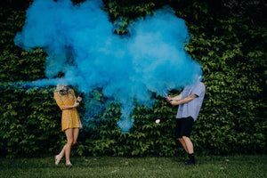blue gender reveal powder cannons
