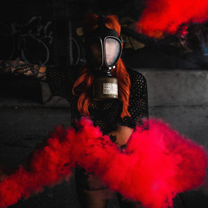 mini red smoke bomb colored smoke effect photography