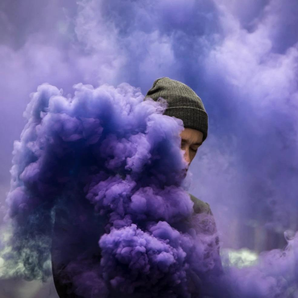Purple mini smoke grenade smoke bomb