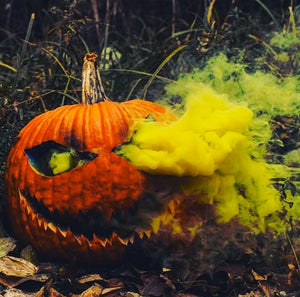 yellow smoke bomb pumpkin