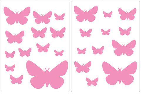 Wandsticker Schmetterlinge Rosa - 25er Set
