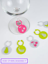 Load image into Gallery viewer, customizable print on demand wine glass charms for Shopify stores