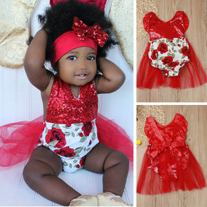 US Newborn Infant Baby Girl Tops Romper Pants Trousers Headband Outfits Clothes