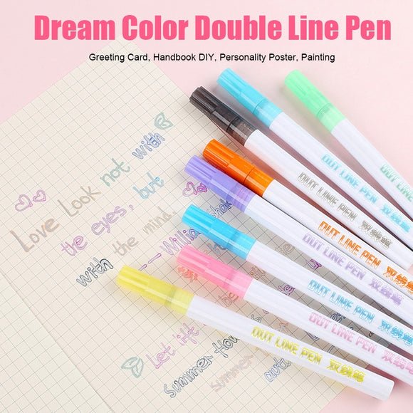8 Colors/Set Double Line Outline Pen