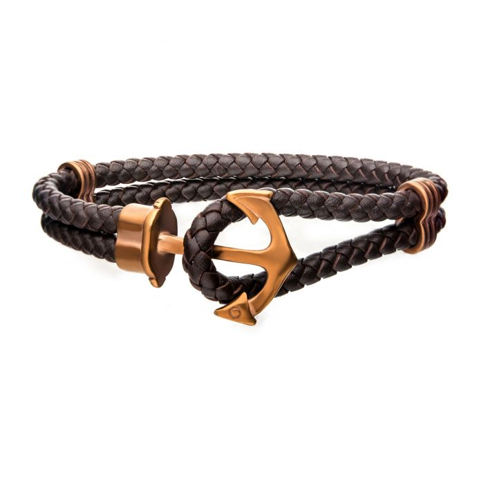 Brown Leather with Cappuccino Plated Anchor Bracelet - Men of Zen